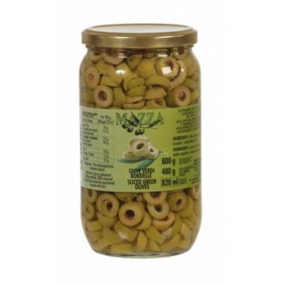 Olívabogyó zöld szeletelt 800/400g ''Mazza''